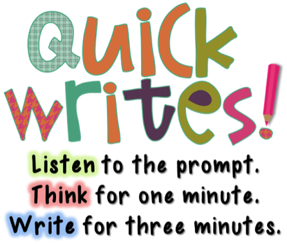 listen for prompt. Think for one minute. Write for three minutes