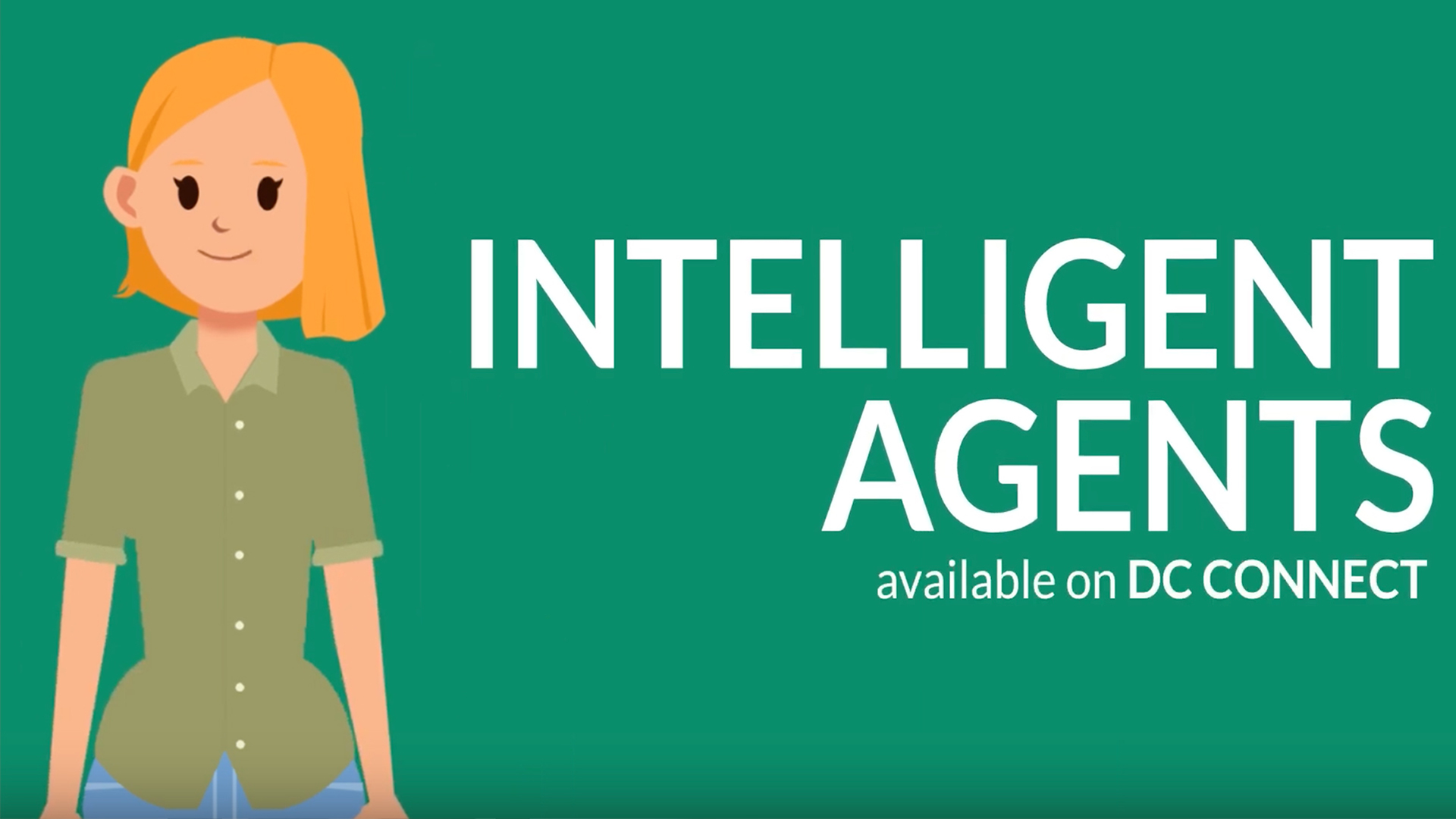 Intelligent Agent graphic character standing beside text