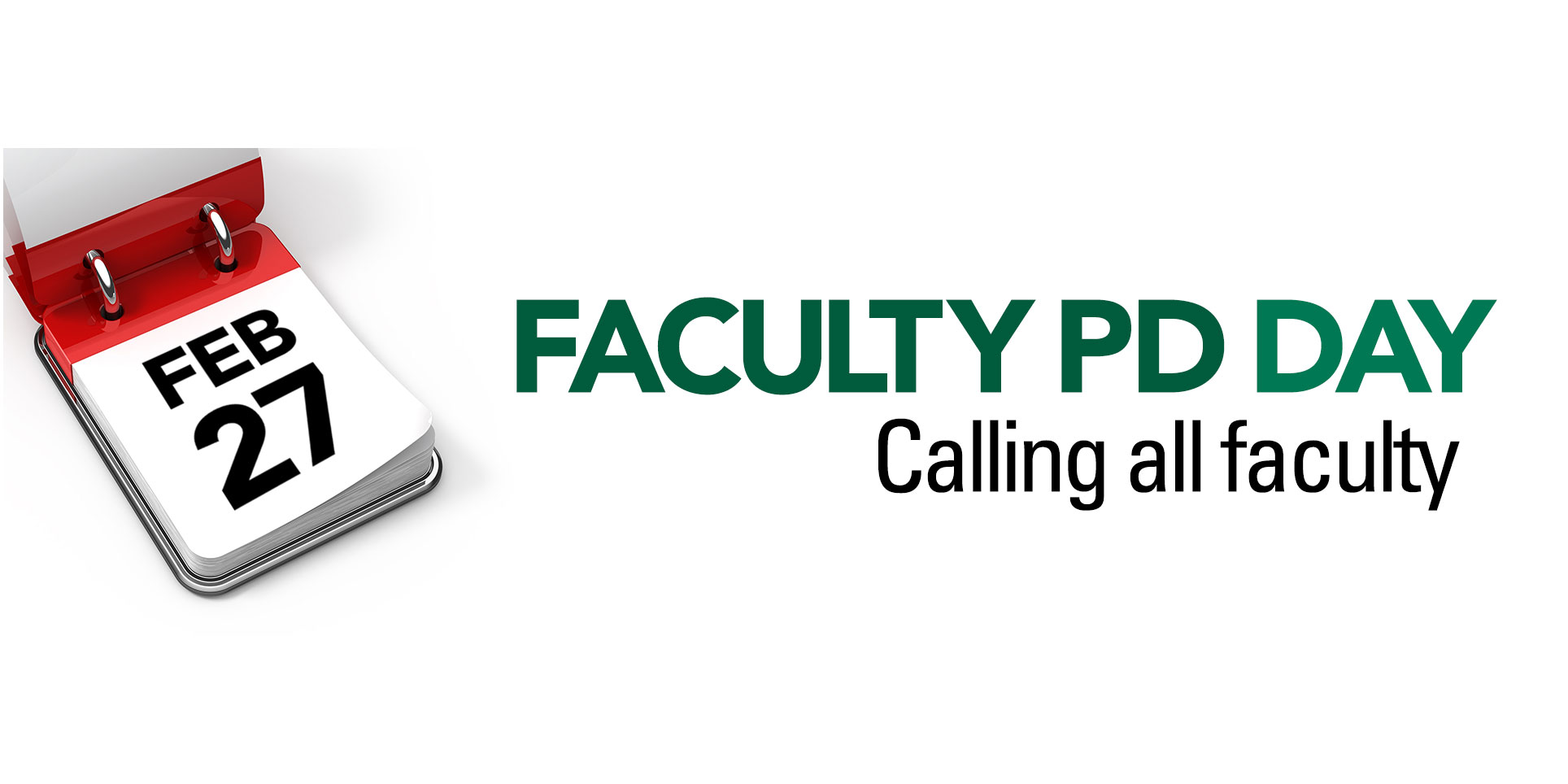 Faculty PD DAY Banner with event date of February 27th