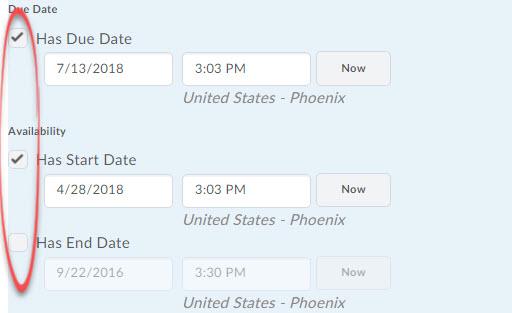 dates check boxes