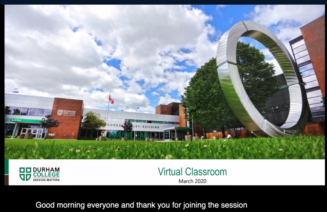 Virtual Classroom Session Captions Example