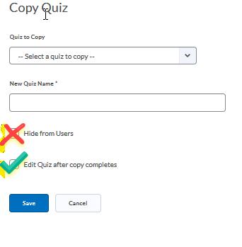 copy quiz checkboxes