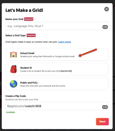 FlipGrid Select Grid Type