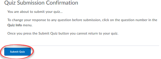 submit quiz button