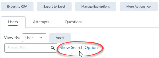 show search options circled