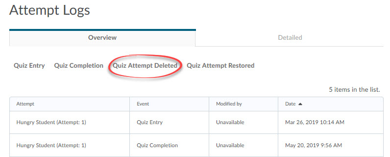quiz attempt deleted tab circled