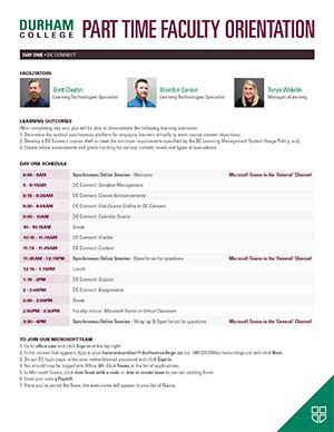 Durham College Part Time Faculty Orientation Schedule