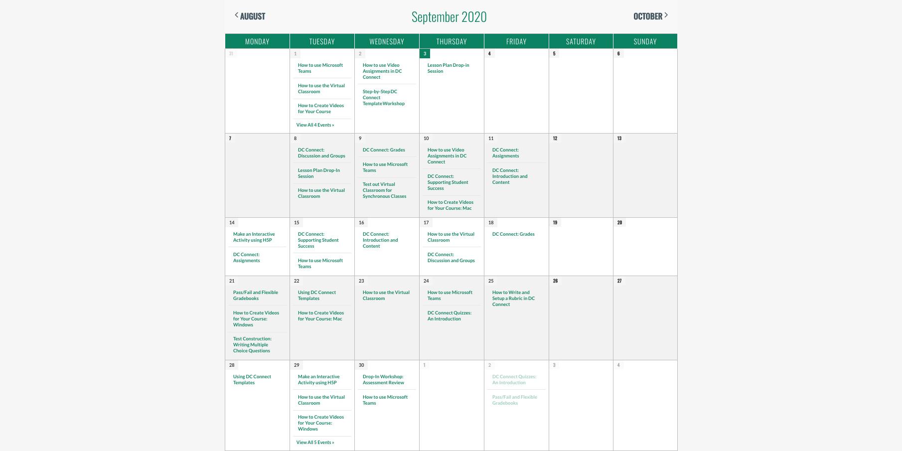 September Fall Professional Development Opportunities Calendar