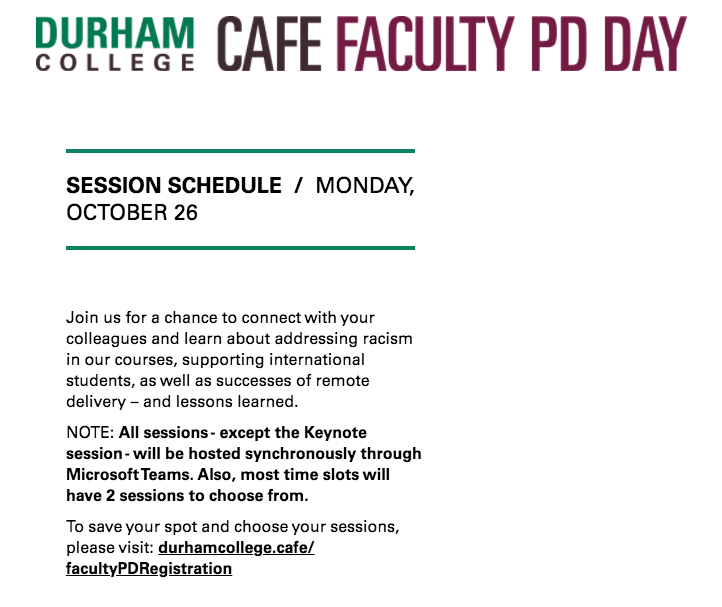 Faculty Professional Development - Session Schedule