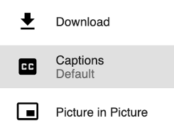 DC Connect interface. Select captions to turn them on.