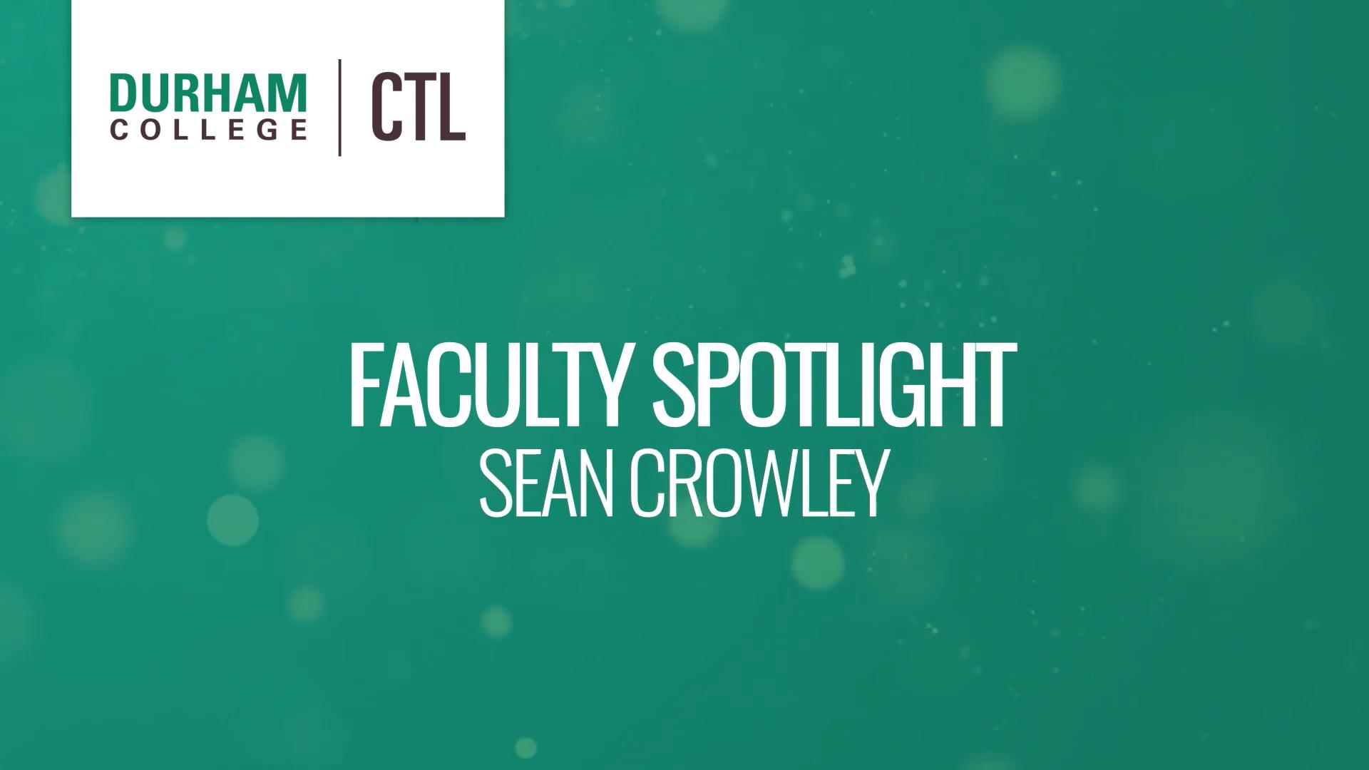 May Faculty Spotlight - Sean Crowley