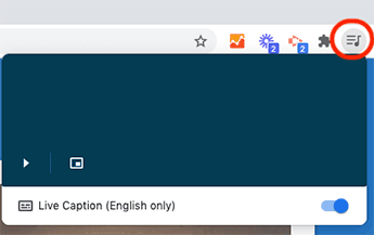 Chrome interface showing Media control icon and option to turn on Live Captions.