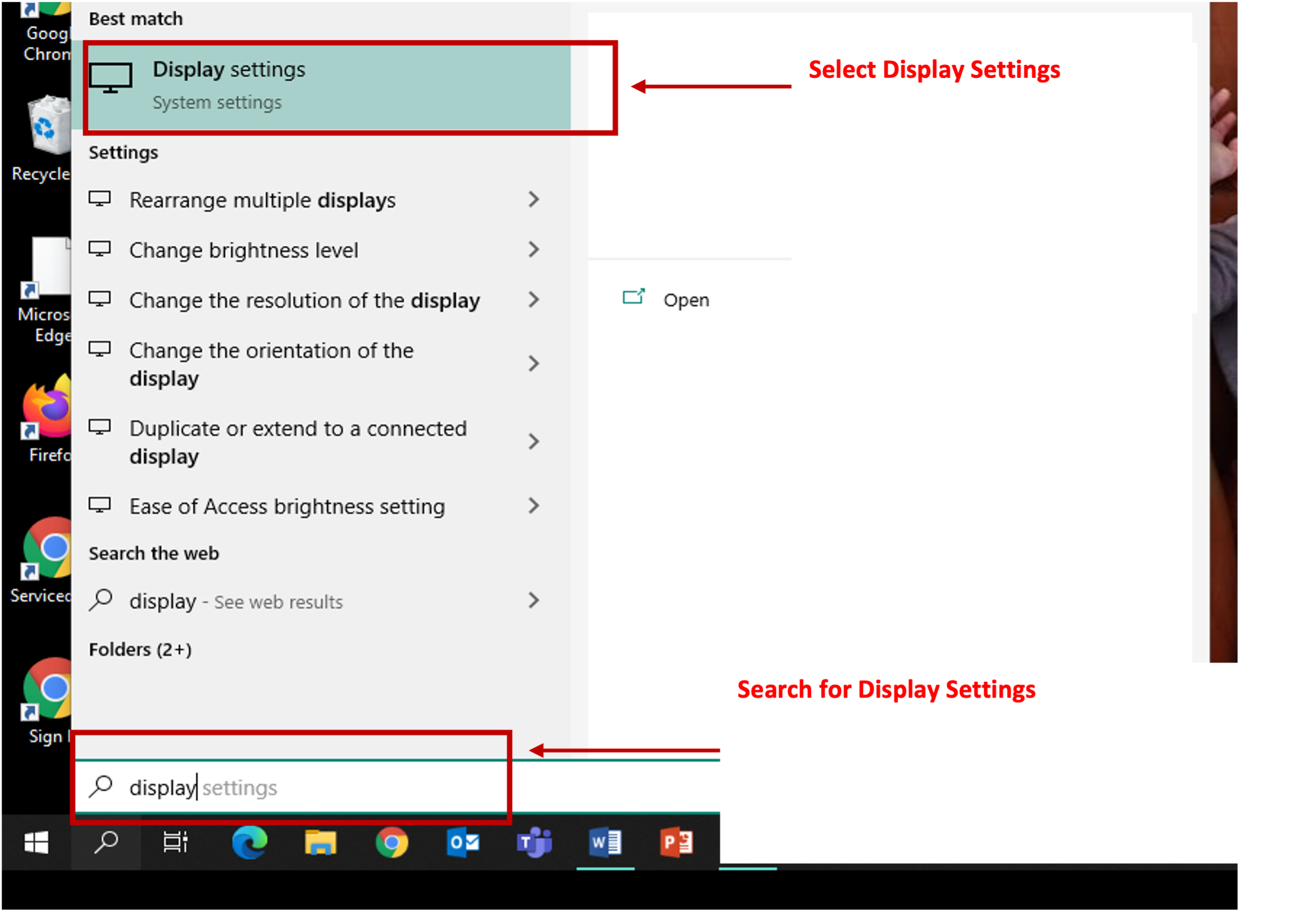 Search and Select Display Settings