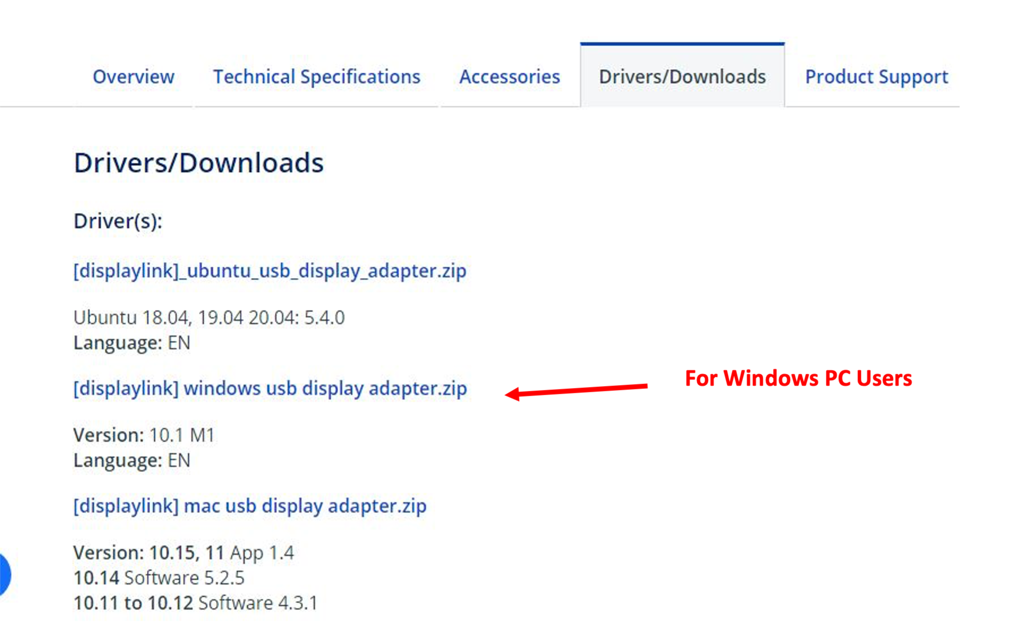 startech Drivers Downloads Page Tab