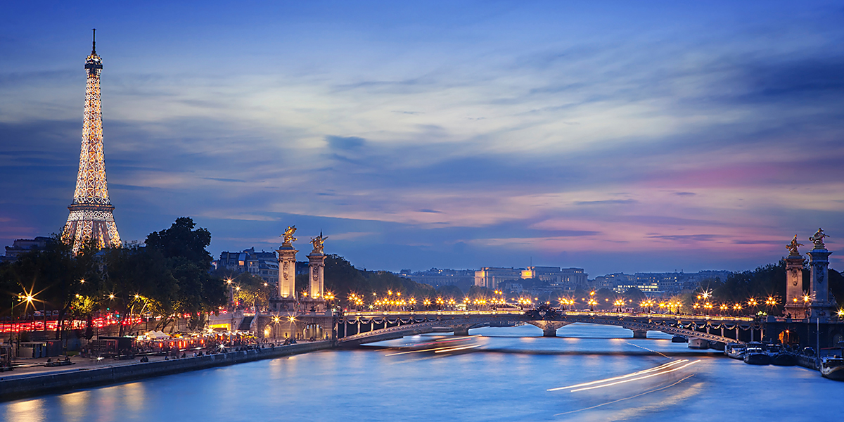 Paris, France cityscape with Tower and bridge