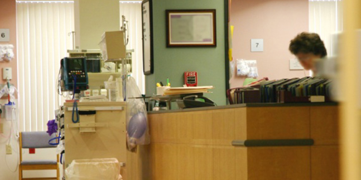 The reception area of a doctor's office