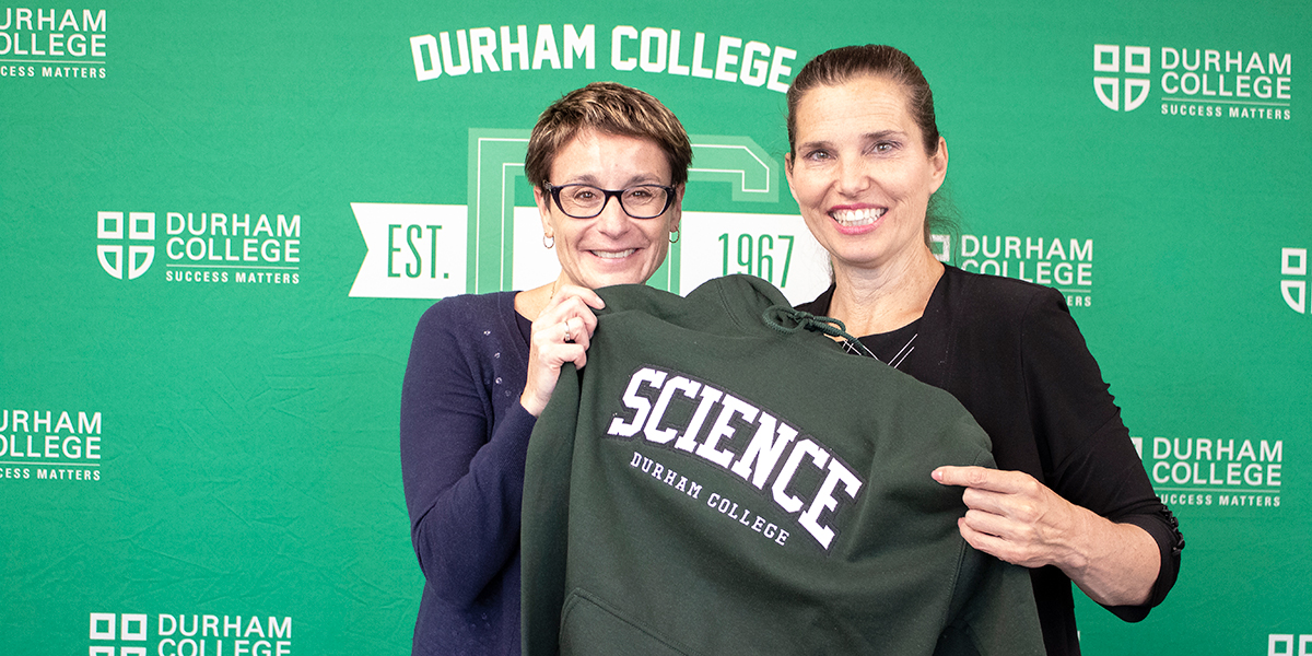 Kirsty Duncan, Minister of Science (right) poses with Dr. Elaine Popp, vice president, Academic at Durham College