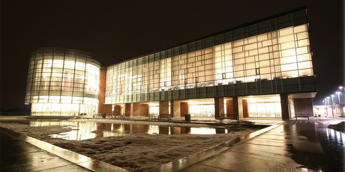 Exterior shot of the library building at night