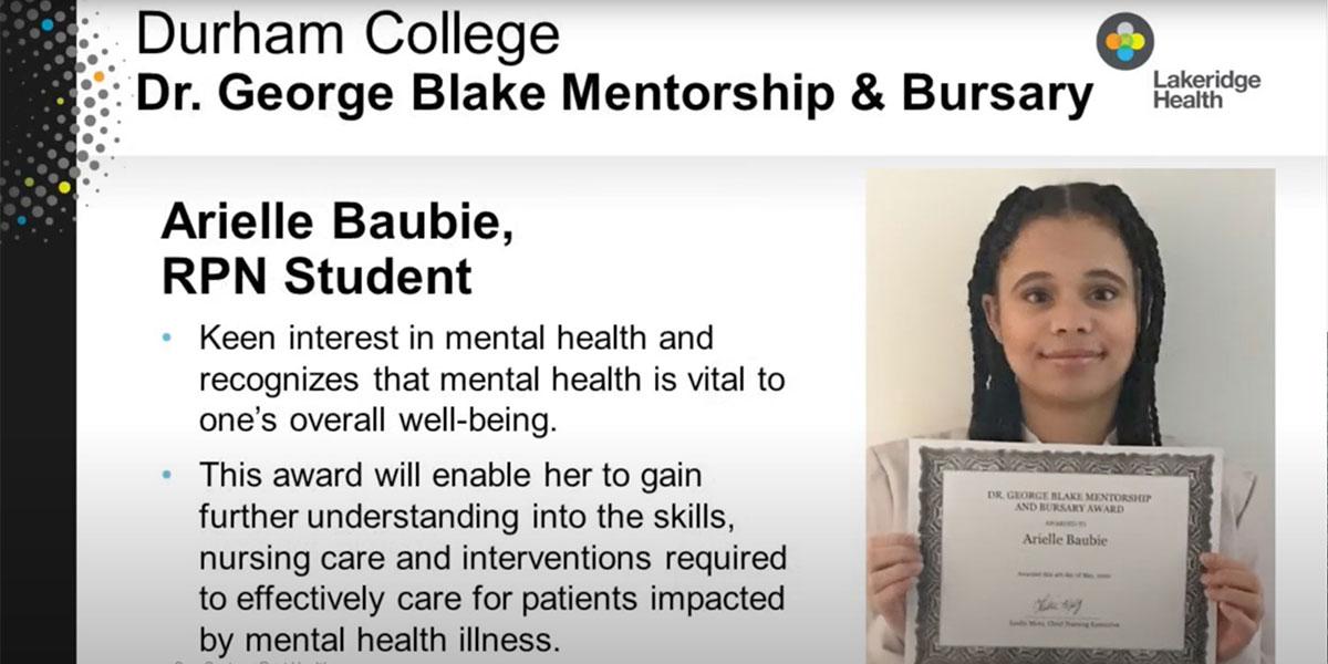 Dr. George Blake Mentorship & Bursary Recipient - Arielle Baubie