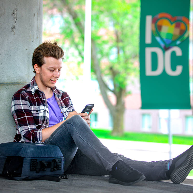 Student uses the DC Mobile app.