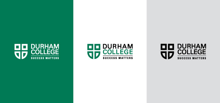 Three different styles of the Durham College logo