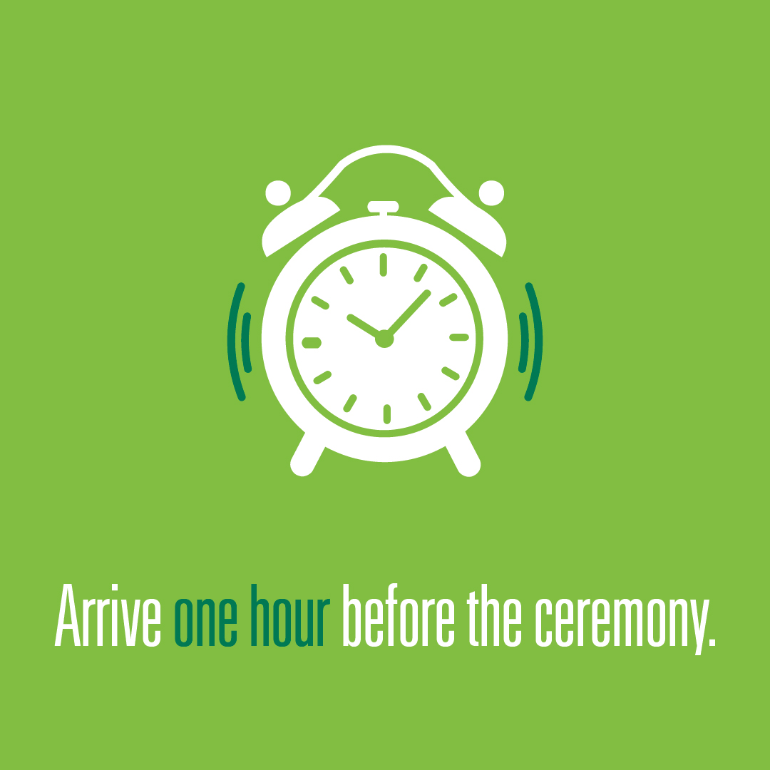 Arrive one hour before the ceremony logo