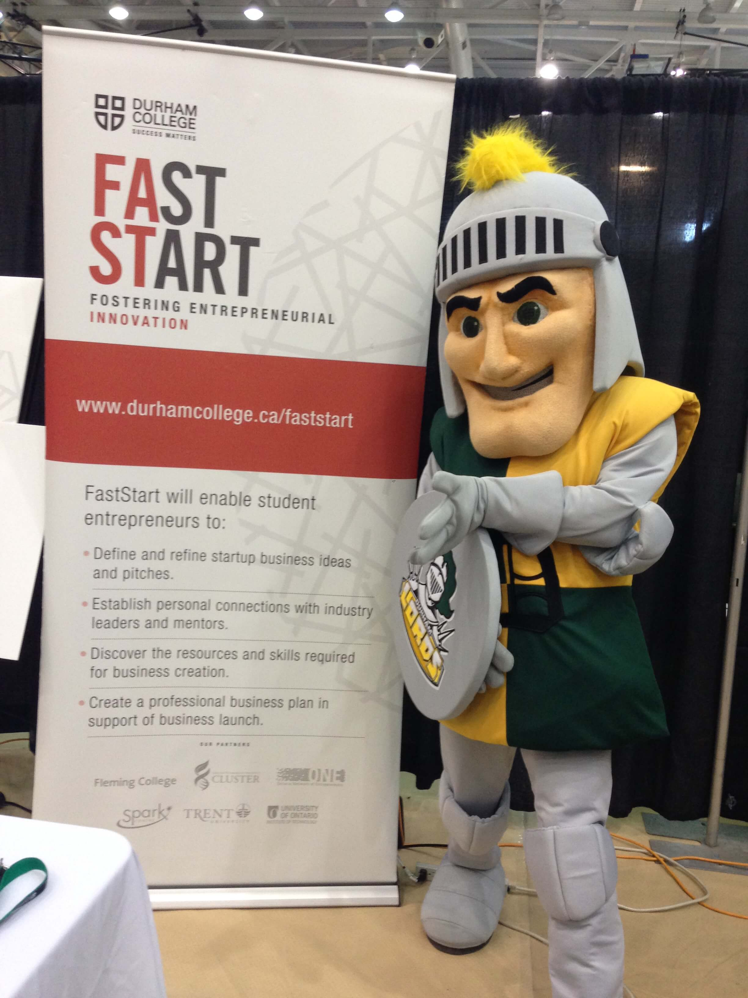 Fast start poster with DCs mascot at fall open house