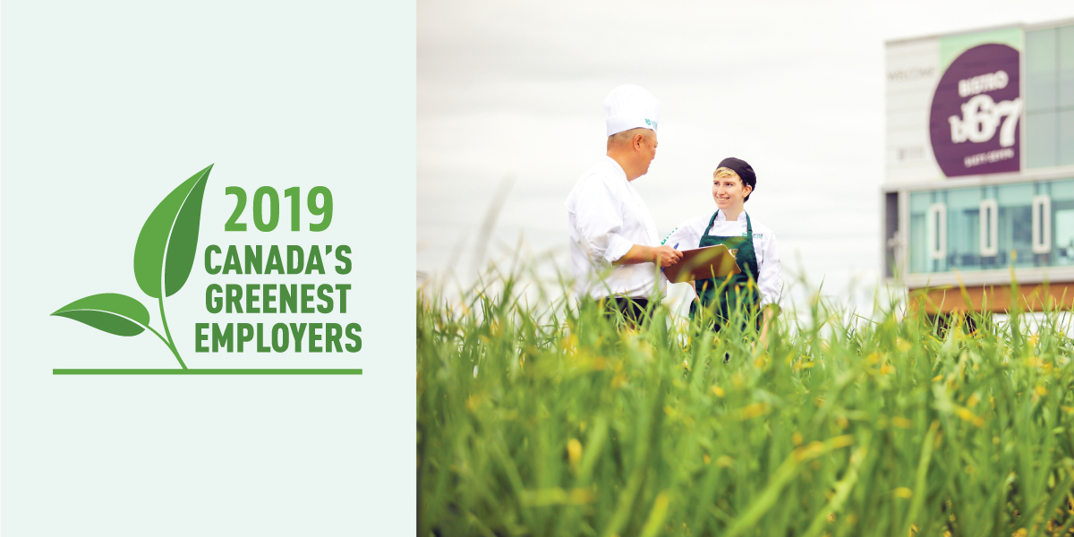 2019 Canada's Greenest Employers logo and DC Whitby campus.