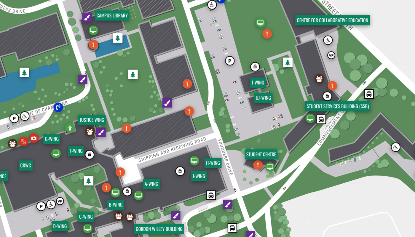 Map image of DCs Oshawa campus.