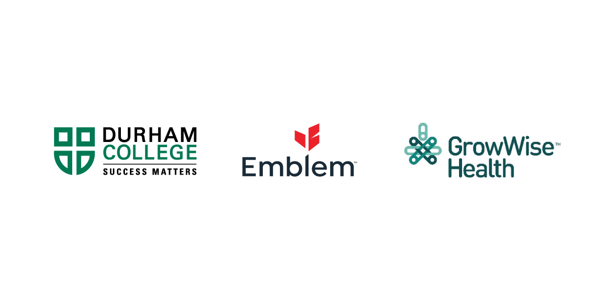 Partner logos, Durham College, Emblem and GrowWise Health