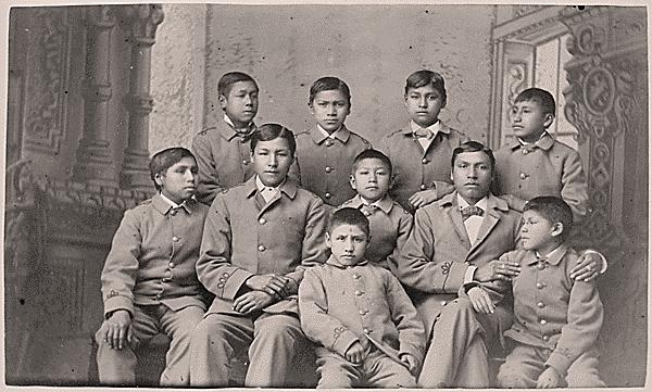 Group of Omaha boys in cadet uniforms, Carlisle Indian School, Pennsylvania, 1880: