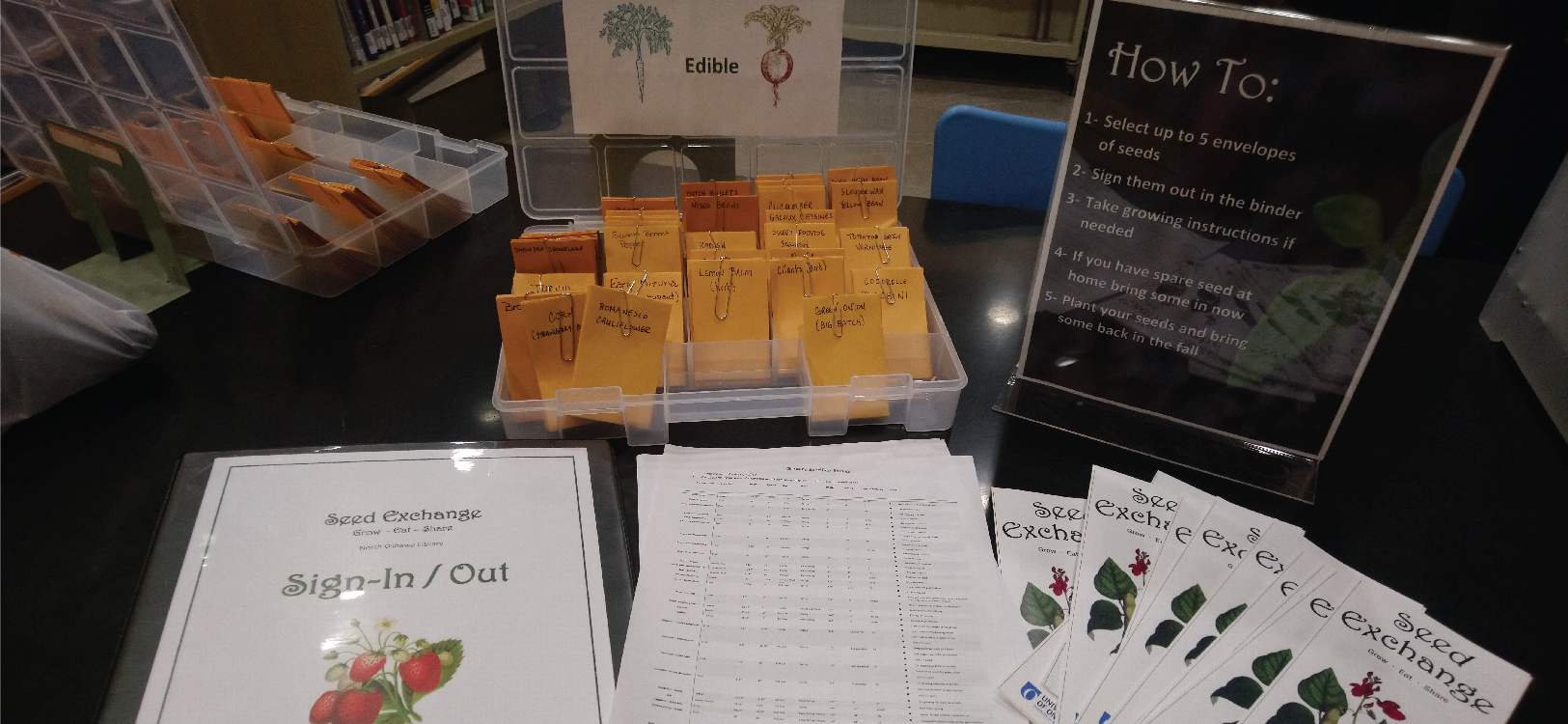 seed exchange display at the library